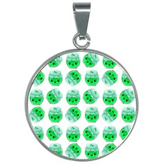 Kawaii Lime Jam Jar Pattern 30mm Round Necklace