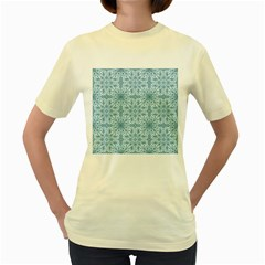 Ornamental Blue Women s Yellow T Shirt