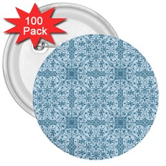 Ornamental Blue 3  Buttons (100 Pack)  by snowwhitegirl