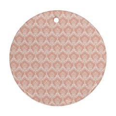 Damask Peach Round Ornament (two Sides)