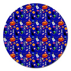 Halloween Treats Pattern Blue Magnet 5  (round) by snowwhitegirl