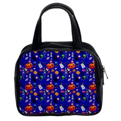 Halloween Treats Pattern Blue Classic Handbag (two Sides)