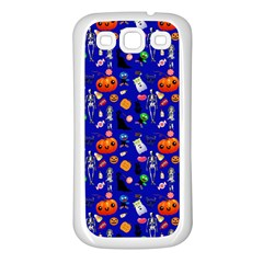 Halloween Treats Pattern Blue Samsung Galaxy S3 Back Case (white)