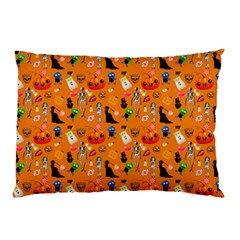 Halloween Treats Pattern Orange Pillow Case by snowwhitegirl