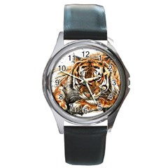 Tiger Sign Round Metal Watch by kostart