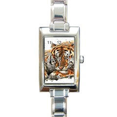 Tiger Sign Rectangle Italian Charm Watch by kostart