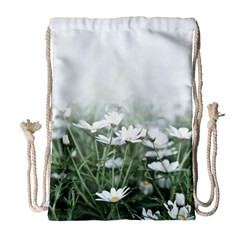 Daisy White Flower Field And Light Blue Sky Drawstring Bag (large)