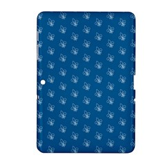 Quebec French Royal Fleur De Lys Elegant Pattern Blue Blue Quebec Fleur De Lys Pattern Blue Samsung Galaxy Tab 2 (10 1 ) P5100 Hardshell Case