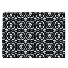 Pattern Skull And Bats Vintage Halloween Black Cosmetic Bag (xxl)