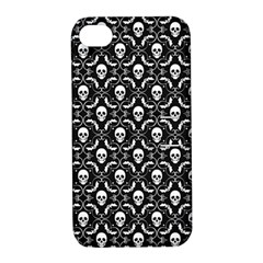 Pattern Skull And Bats Vintage Halloween Black Apple Iphone 4/4s Hardshell Case With Stand