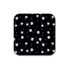 Pattern Skull Stars Halloween Gothic On Black Background Rubber Coaster (square)