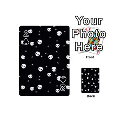 Pattern Skull Stars Halloween Gothic On Black Background Playing Cards 54 (mini) by MAGA