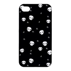Pattern Skull Stars Halloween Gothic On Black Background Apple Iphone 4/4s Hardshell Case by MAGA
