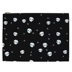 Pattern Skull Stars Halloween Gothic On Black Background Cosmetic Bag (xxl)