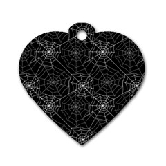 Pattern Spiderweb Halloween Gothic On Black Background Dog Tag Heart (one Side) by genx