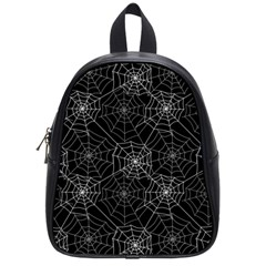 Pattern Spiderweb Halloween Gothic On Black Background School Bag (small)
