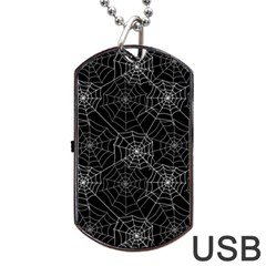 Pattern Spiderweb Halloween Gothic On Black Background Dog Tag Usb Flash (one Side) by snek