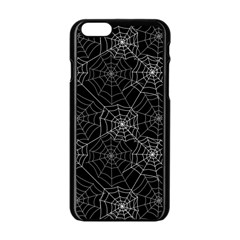 Pattern Spiderweb Halloween Gothic On Black Background Apple Iphone 6/6s Black Enamel Case