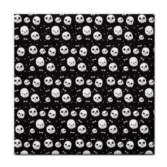 Pattern Skull Bones Halloween Gothic On Black Background Tile Coasters