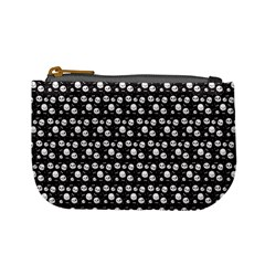 Pattern Skull Bones Halloween Gothic On Black Background Mini Coin Purse