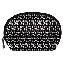 Pattern Skull Bones Halloween Gothic On Black Background Accessory Pouch (large)