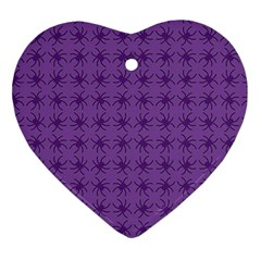 Pattern Spiders Purple And Black Halloween Gothic Modern Ornament (heart)