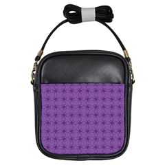 Pattern Spiders Purple And Black Halloween Gothic Modern Girls Sling Bag by genx