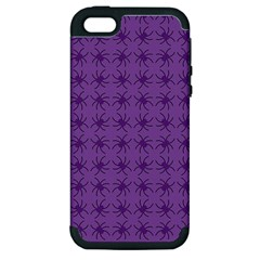 Pattern Spiders Purple And Black Halloween Gothic Modern Apple Iphone 5 Hardshell Case (pc+silicone)