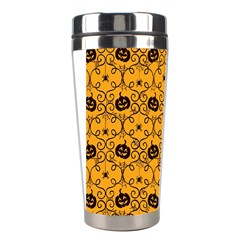 Pattern Pumpkin Spider Vintage Halloween Gothic Orange And Black Stainless Steel Travel Tumblers
