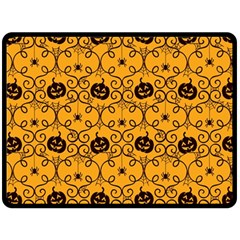 Pattern Pumpkin Spider Vintage Halloween Gothic Orange And Black Double Sided Fleece Blanket (large)  by genx