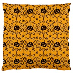 Pattern Pumpkin Spider Vintage Halloween Gothic Orange And Black Large Flano Cushion Case (one Side) by snek