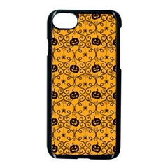 Pattern Pumpkin Spider Vintage Halloween Gothic Orange And Black Apple Iphone 8 Seamless Case (black)