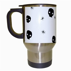 Pattern Skull Stars Handrawn Naive Halloween Gothic Black And White Travel Mugs (white)