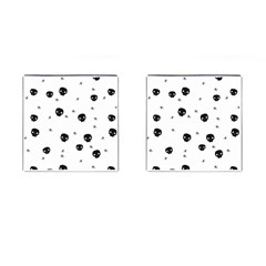 Pattern Skull Stars Handrawn Naive Halloween Gothic Black And White Cufflinks (square) by genx