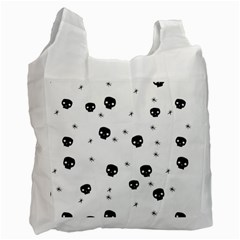 Pattern Skull Stars Handrawn Naive Halloween Gothic Black And White Recycle Bag (one Side) by snek