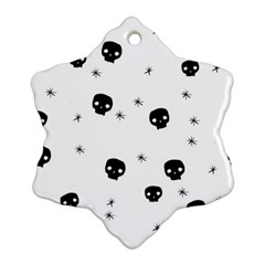 Pattern Skull Stars Handrawn Naive Halloween Gothic Black And White Snowflake Ornament (two Sides)