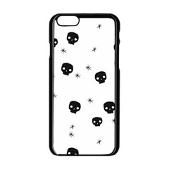 Pattern Skull Stars Handrawn Naive Halloween Gothic Black And White Apple Iphone 6/6s Black Enamel Case