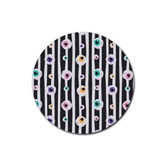 Pattern Eyeball Black And White Naive Stripes Gothic Halloween Rubber Coaster (round)