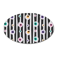 Pattern Eyeball Black And White Naive Stripes Gothic Halloween Oval Magnet