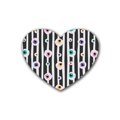 Pattern Eyeball Black And White Naive Stripes Gothic Halloween Rubber Coaster (heart)