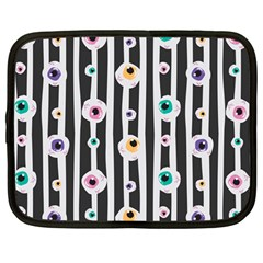 Pattern Eyeball Black And White Naive Stripes Gothic Halloween Netbook Case (large) by genx