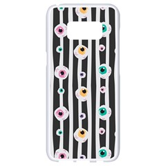 Pattern Eyeball Black And White Naive Stripes Gothic Halloween Samsung Galaxy S8 White Seamless Case