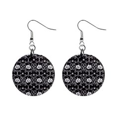 Pattern Pumpkin Spider Vintage Gothic Halloween Black And White Mini Button Earrings