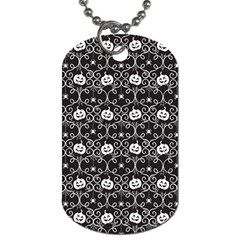 Pattern Pumpkin Spider Vintage Gothic Halloween Black And White Dog Tag (one Side) by snek