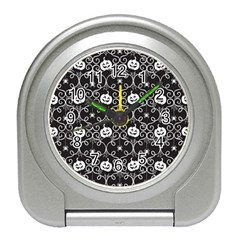 Pattern Pumpkin Spider Vintage Gothic Halloween Black And White Travel Alarm Clock