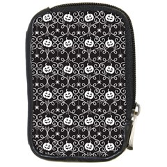 Pattern Pumpkin Spider Vintage Gothic Halloween Black And White Compact Camera Leather Case by genx