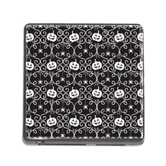 Pattern Pumpkin Spider Vintage Gothic Halloween Black And White Memory Card Reader (square 5 Slot)