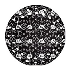 Pattern Pumpkin Spider Vintage Gothic Halloween Black And White Round Filigree Ornament (two Sides)