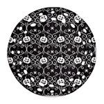 Pattern Pumpkin Spider Vintage gothic Halloween black and white Round Filigree Ornament (Two Sides) Back