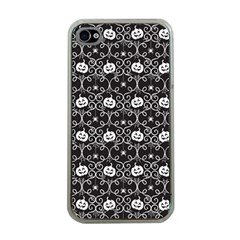 Pattern Pumpkin Spider Vintage Gothic Halloween Black And White Apple Iphone 4 Case (clear)